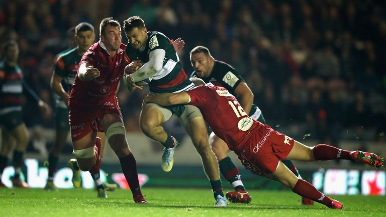 Jonny May attacks the Scarlets defence at Welford Road
