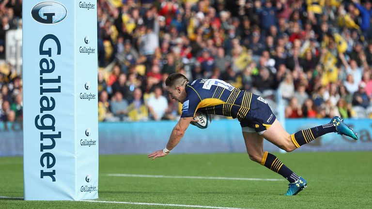 Josh Adams was among seven try scorers as Worcester put Bristol to the swords