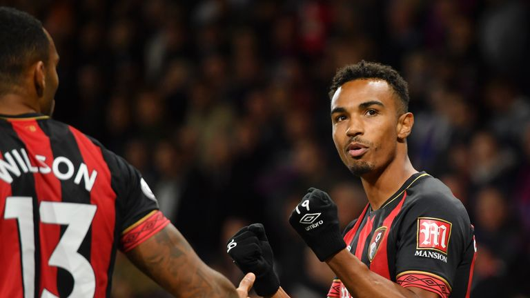 Junior Stanislas celebrates his winner after Mamadou Sakho fouled Jefferson Lerma to concede a late penalty
