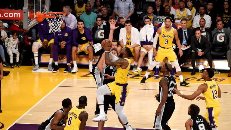 LeBron James #23 of the Los Angeles Lakers shoots the ball against the San Antonio Spurs on October 22, 2018 at STAPLES Center in Los Angeles, California.