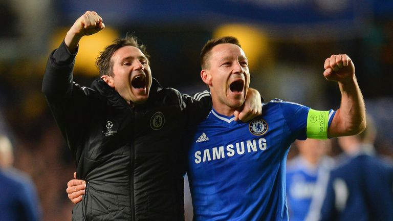 Terry with former team-mate Frank Lampard, who is manager at Derby