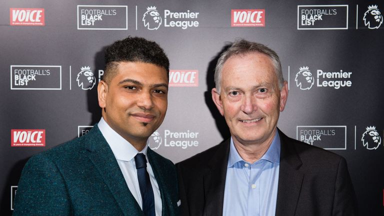 Football Black List co-founder Leon Mann and Premier League executive chairman Richard Scudamore at last year's event