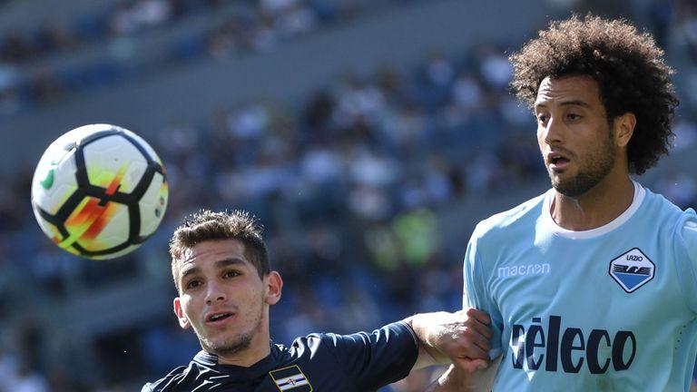 Lucas Torreira in action for Sampdoria against Lazio