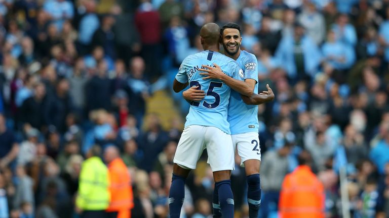 Riyad Mahrez celebrates after scoring for Manchester City against Burnley