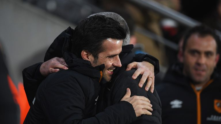Marco Silva embraces Jose Mourinho during his time at Hull