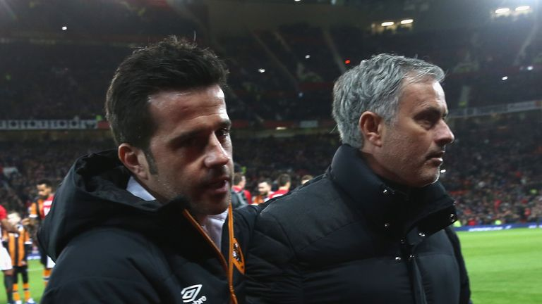 Marco Silva and Jose Mourinho pictured at Old Trafford
