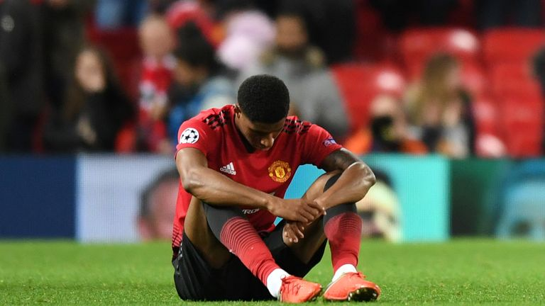 Marcus Rashford looks dejected at full-time
