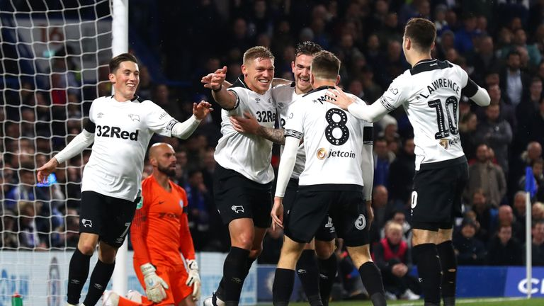 Martyn Waghorn of Derby County celebrates after scoring his team's second goa
