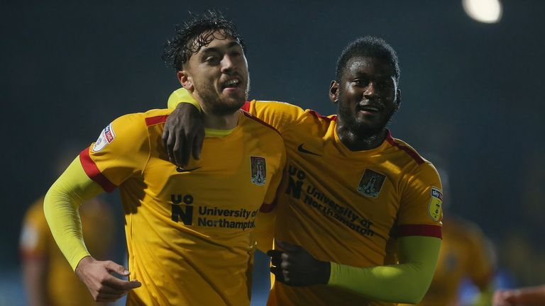 Matt Crooks (L) scored a hat-trick for Northampton