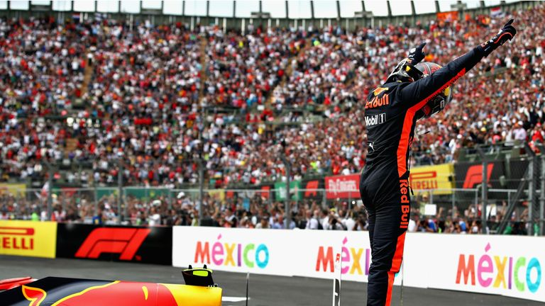 Verstappen celebrates a dominant victory in Mexico in 2018