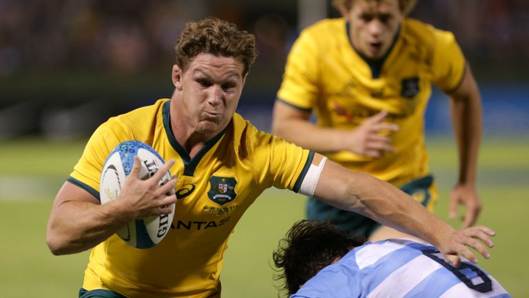 Michael Hooper carries for the Wallabies
