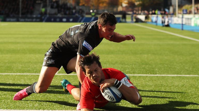 Michael Rhodes crossing for Saracens' only try at Scotstoun Stadium