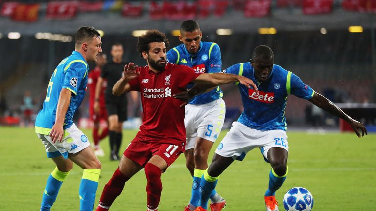 Mohamed Salah was the subject of close attention from Napoli players