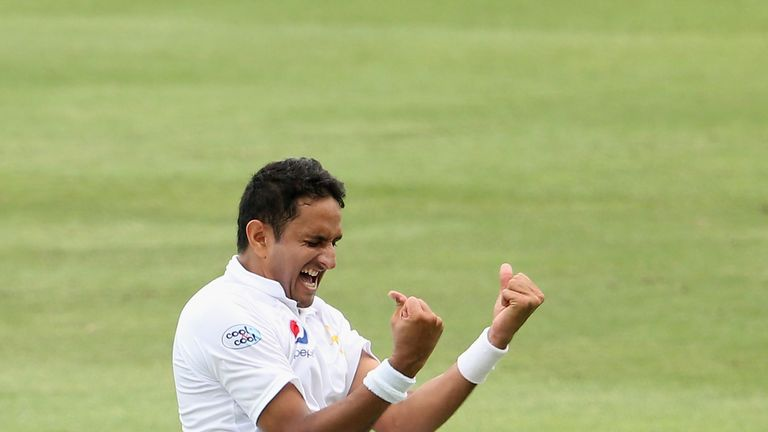 Mohammad Abbas celebrates one of his 10 wickets in the second Test against Australia