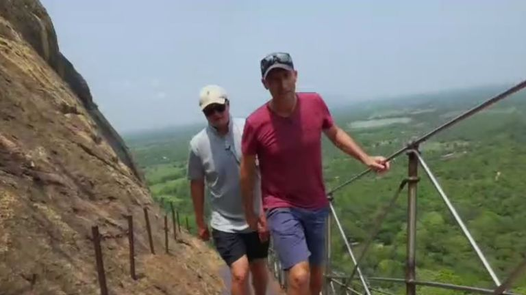 Nasser Hussain and Rob Key ascend Sigiriya Rock
