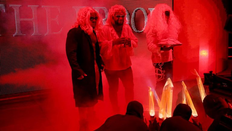 The New Day dressed as The Brood for their Halloween-themed match