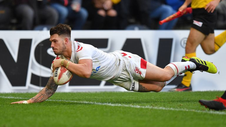 Oliver Gildart scores the match-winning try on his debut for England