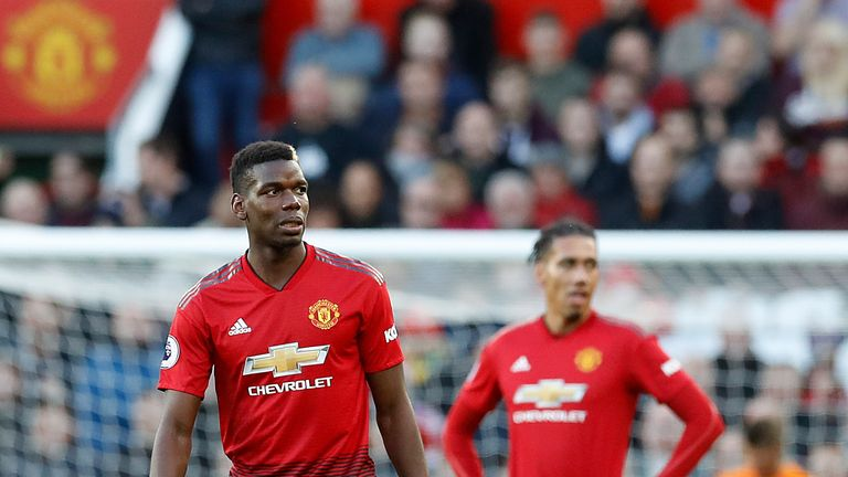 Paul Pogba and Chris Smalling react after Newcastle's second goal