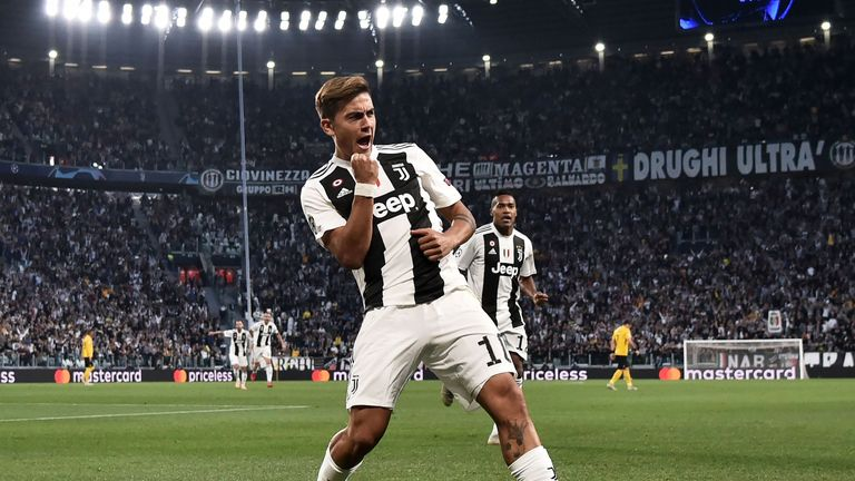 Paulo Dybala scored a hat-trick for Juventus in the Champions League
