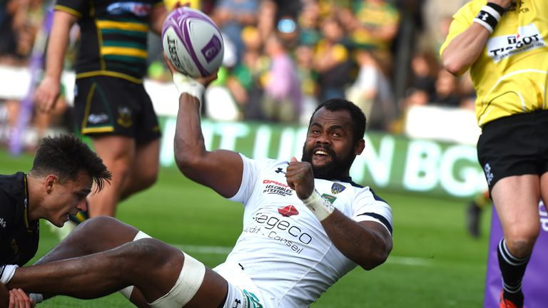 Clermont Auvergne's Peceli Yato celebrates scoring against Northampton in the French side's 41-20 victory