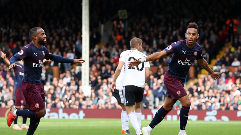 Pierre-Emerick Aubameyang celebrates scoring Arsenal's fourth