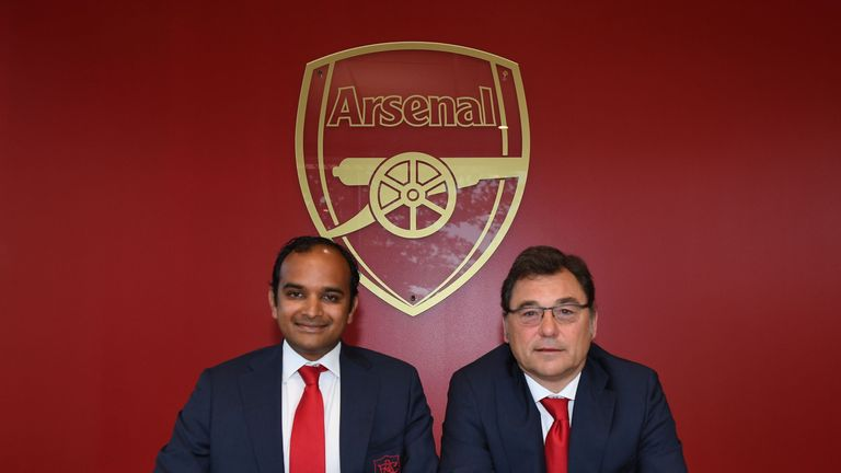 Managing director, Vinai Venkatesham (L) and head of football, Raul Sanllehi (R) have been charged with shaping Arsenal's future