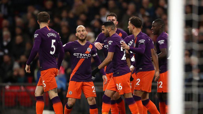 Riyadh Murres of Manchester City celebrates Tottenham Hotspur