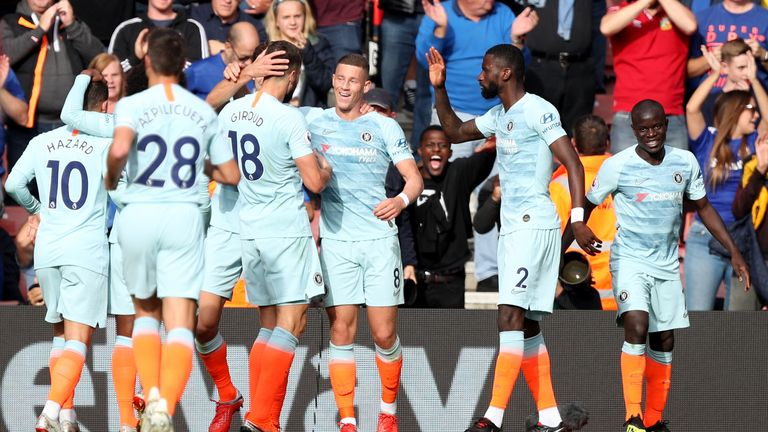 Ross Barkley celebrates with team-mates after doubling Chelsea's lead
