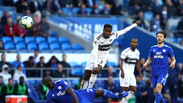 Ryan Sessegnon takes a shot at goal against Cardiff City