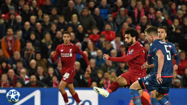 Salah scores his first against Red Star