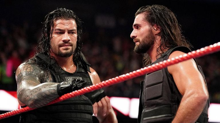 Roman Reigns and Seth Rollins were left in the ring on their own following their loss to the Dogs of War