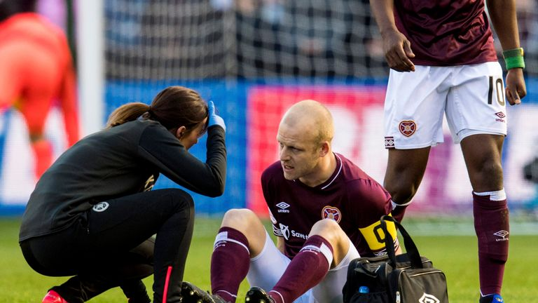 Hearts have been hit by a bad knee injury to Steven Naismith