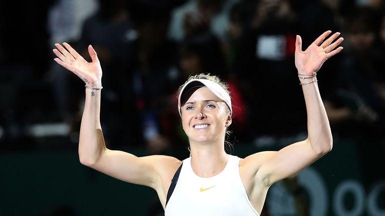 Elina Svitolina celebrates her opening victory in Shanghai