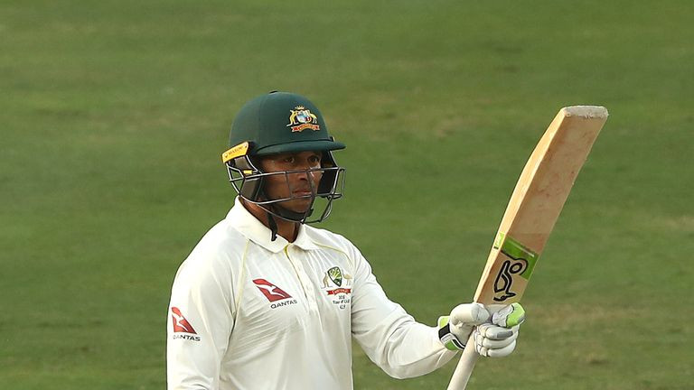 Usman Khawaja scored a hundred for Australia in Dubai before sustaining a knee injury in Abu Dhabi
