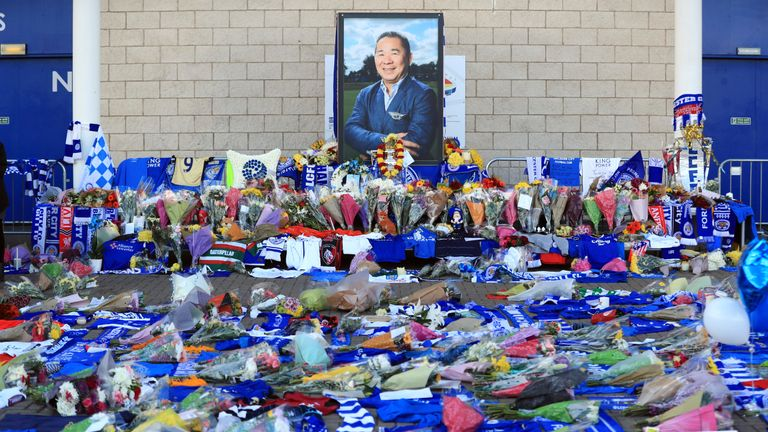 Supporters pay tribute to Vichai Srivaddhanaprabha at the King Power Stadium