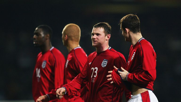 Wayne Rooney with Francis Jeffers after the latter's debut England goal
