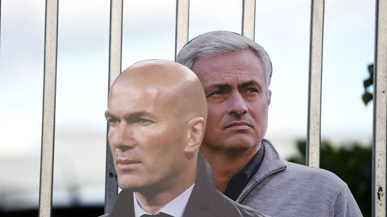 Zidane's picture was placed in-front of Mourinho's, the man he is favourite to replace