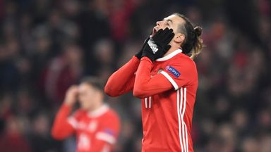 during the UEFA Nations League Group B match between Wales and Denmark at Cardiff City Stadium on November 16, 2018 in Cardiff, United Kingdom.
