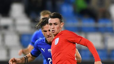 Phil Foden in action for England U21s against Italy