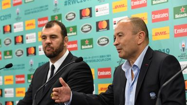 Eddie Jones (right) has won all five games against Michael Cheika since taking charge of England