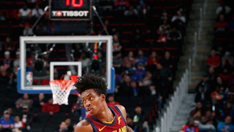 Collin Sexton dribbles against the Detroit Pistons