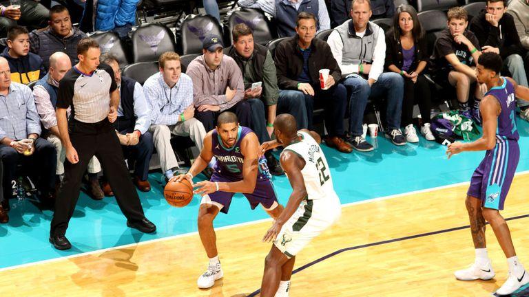 Nicolas Batum #5 of the Charlotte Hornets handles the ball against the Milwaukee Bucks on November 26, 2018 at Spectrum Center in Charlotte, North Carolina.