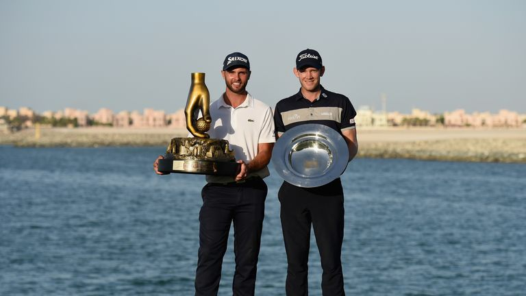 Adri Arnaus and Joachim B Hansen with their silverware at the end of the Challenge Tour season