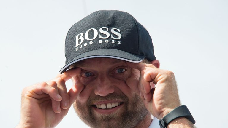Alex Thomson sees the funny side after crashing while asleep in the Route de Rhum
