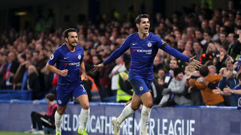 Alvaro Morata celebrates putting Chelsea 1-0 up
