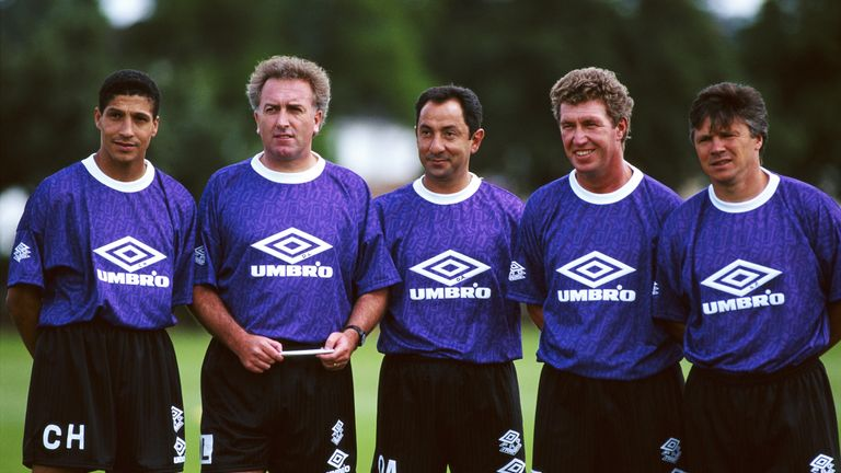 Ardiles (centre) with his Spurs coaching staff, including Chris Hughton (left) and Perryman (right)