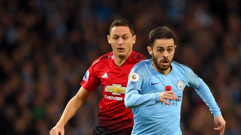 Silva and Nemanja Matic in action during the Manchester derby