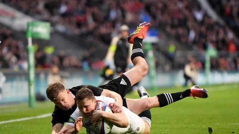 Ashton scored a try against the All Blacks on his first start for four years