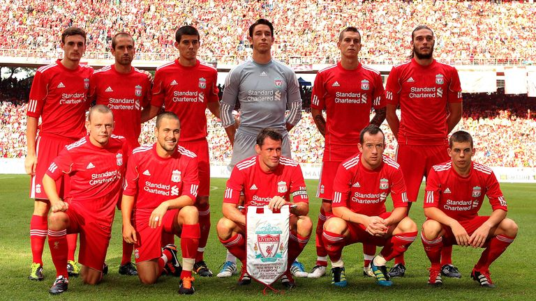 Coady (back row, third from left) on Liverpool's pre-season tour in 2011