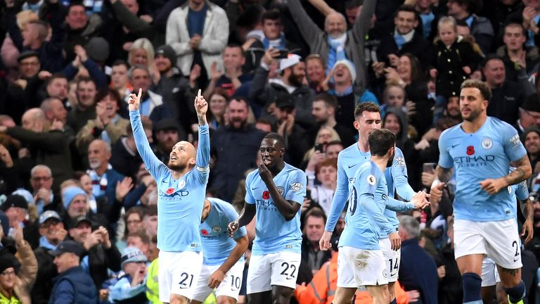 David Silva celebrates putting Manchester City ahead